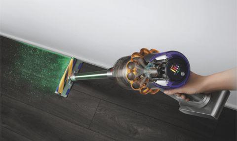Безжична прахосмукачка с лазер, насочен към боклука