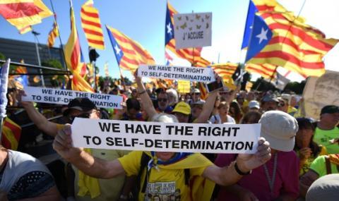 Каталунци на протест пред ЕП
