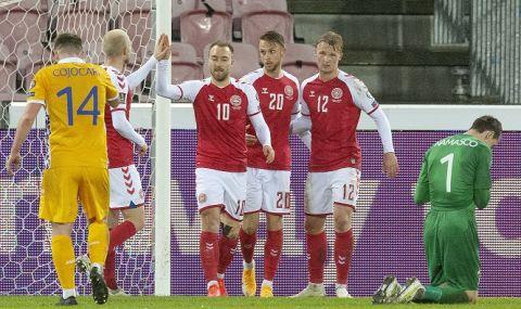 Размазване: Дания вкара осем безответни гола на Молдова