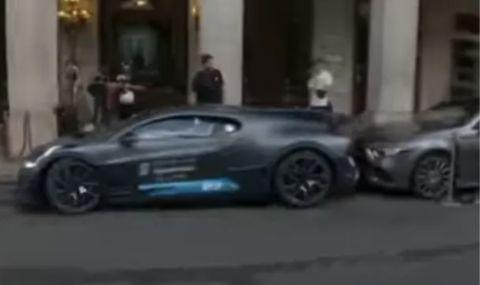Грешка за милиони: Шофьор на Bugatti Divo се удари в спрял Mercedes (ВИДЕО) - 1