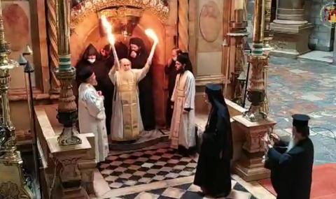 Благодатният огън слезе на Божи гроб (ВИДЕО)