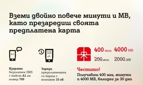 А1 дава двойно повече минути и МВ при презареждане на предплатена карта