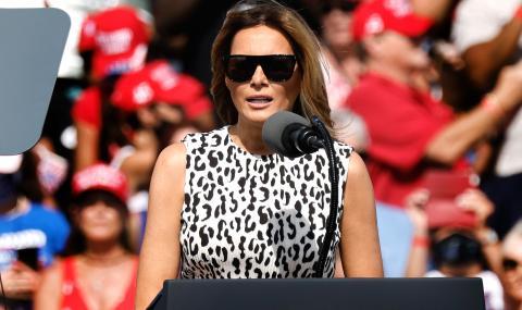 Мелания в леопардово на митинг на Тръмп, тълпата крещи: