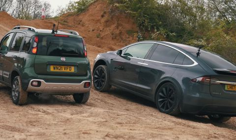 Може ли Tesla Model X да се справи с Fiat Panda? (ВИДЕО) - 1