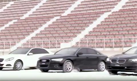 4х4 системи: Audi, BMW и Mercedes на сняг (ВИДЕО)