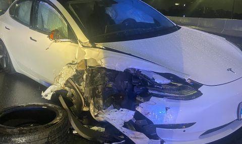 Вижте как Tesla Model 3 с включен автопилот се удари в патрулка (ВИДЕО) - 1
