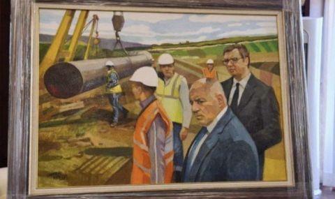 Божков поиска да купи за колекцията си картина с Борисов и Вучич