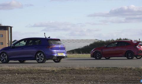 VW Golf 8 R срещу Honda Civic Type R (ВИДЕО)