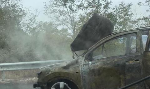 Задръстване на АМ Тракия заради горяща кола