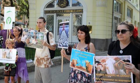 Вегани протестираха пред мюфтийството