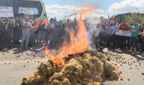 Фермери блокираха пътя София-Варна, запалиха вълна на шосето (СНИМКИ) - 1