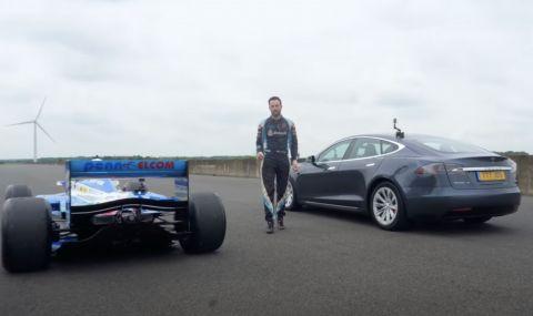 Tesla Model S се пробва срещу болид от Formula 1 (ВИДЕО)