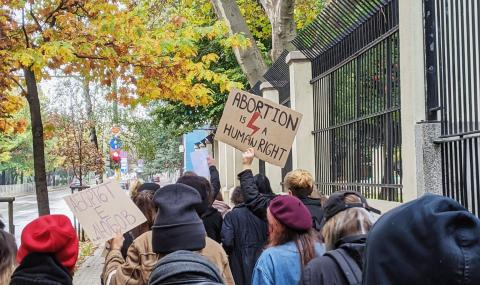 Протест пред полското посолство у нас заради забраната за аборти - 1