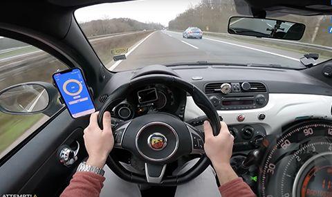 Fiat 500 Abarth изпревари патрулка с над 180 км/ч в тест за максимална скорост (ВИДЕО)