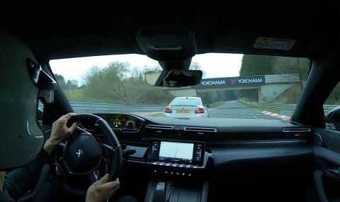 Peugeot 508 PSE преследва с лекота BMW M2 (ВИДЕО)