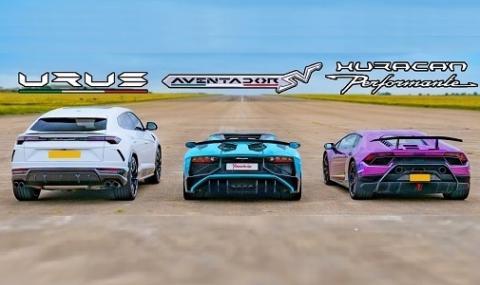 Семейни войни: Urus се изправя срещу Aventador и Huracan (ВИДЕО)