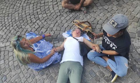 Протестираща легна на бул.