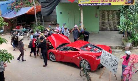 Ferrari 488 GTB се използва за продажба на... дини (ВИДЕО)
