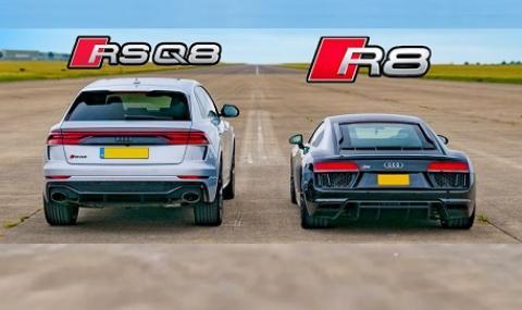 Има ли шанс RS Q8 срещу R8 в драг състезание? (ВИДЕО)