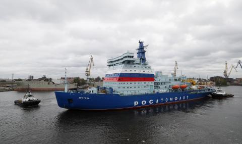 """Атомният ледоразбивач """"Арктика"""" преодоля 4800 морски мили за 21 дни"""