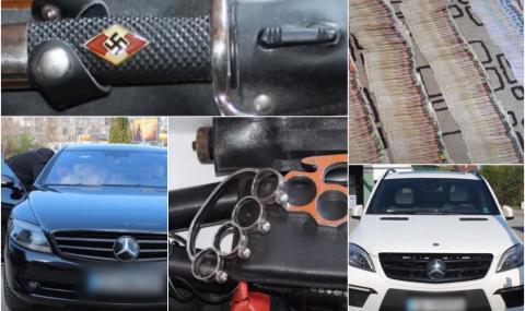 Скъпи коли, пари, нацистки реликви и хладни оръжия у биячите на Слави Ангелов (СНИМКИ)