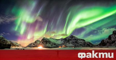 Северното сияние беше заснето над Лапландия. Огромни ивици зелени и