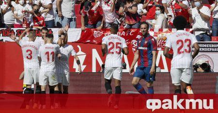 Севиля спечели футболната престрелка с Леванте в Примера Дивизион, като