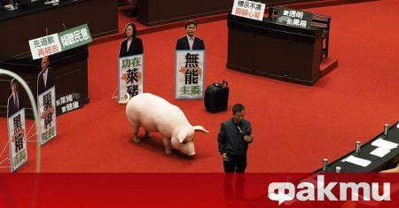 Законодатели от основната опозиционна партия в Тайван Гоминдан замерваха със