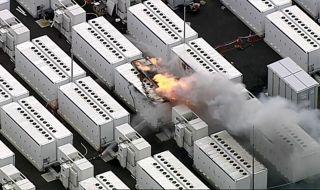 Пожар в едно от съоръженията за съхранение на енергия на Tesla - 1