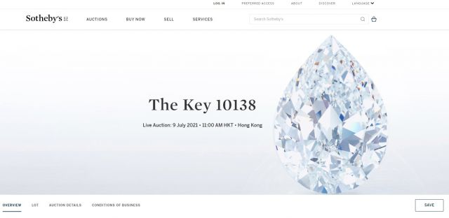 Продадоха 101-каратов диамант за рекордна сума