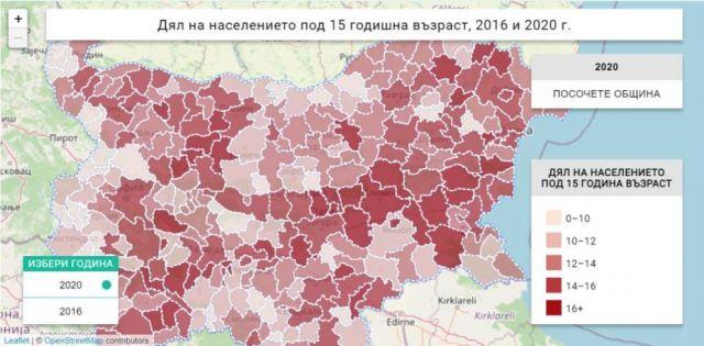 Публикуваха карта на броя на децата в България (СНИМКА)