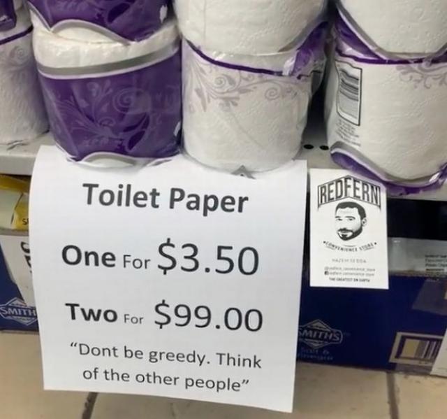 Хитър трик спря презапасяващите се да не изкупят всичката тоалетна хартия в този магазин
