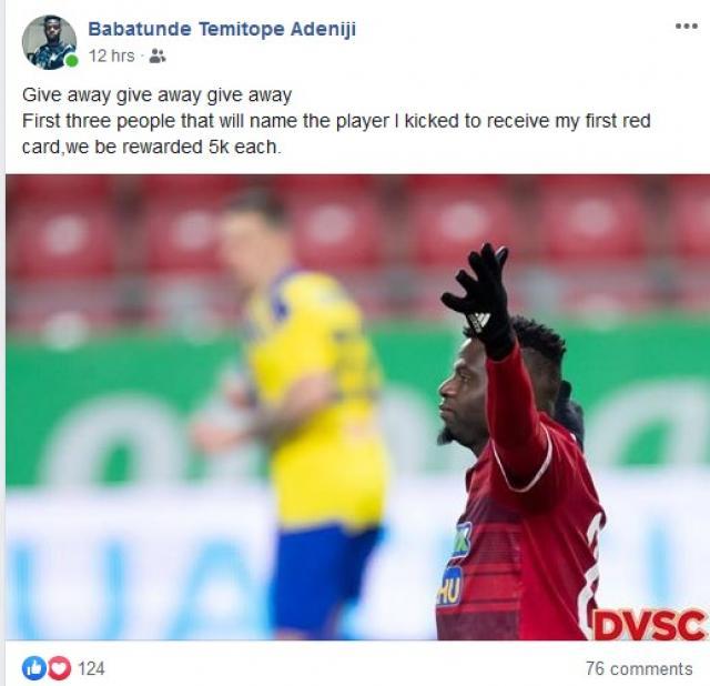 Бабатунде Адениджи дава по пет бона за отговор на загадка във Фейсбук