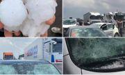 Последствията върху автомобилите от градушка с размерите на топки за тенис (ВИДЕО)