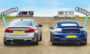 Porsche 911 Turbo S срещу тунинговано BMW M5 (ВИДЕО)