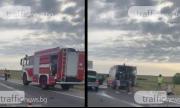 """Тежка катастрофа на АМ """"Тракия"""" – тир и кола се удариха (ВИДЕО)"""