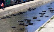 Десетки автомобилни гуми плуват в река Слатинска