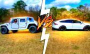Tesla Model X срещу Hummer H1 и Ford F-450 (ВИДЕО)