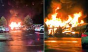 Четири чисто нови Chevrolet Corvette изгоряха на автовоза (ВИДЕО)