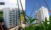 За денонощие построиха 10-етажна сграда (ВИДЕО)