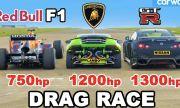 Nissan GT-R с 1300к.с. срещу Lamborghini Huracan с 1200к.с. и болид от Formula 1 (ВИДЕО)